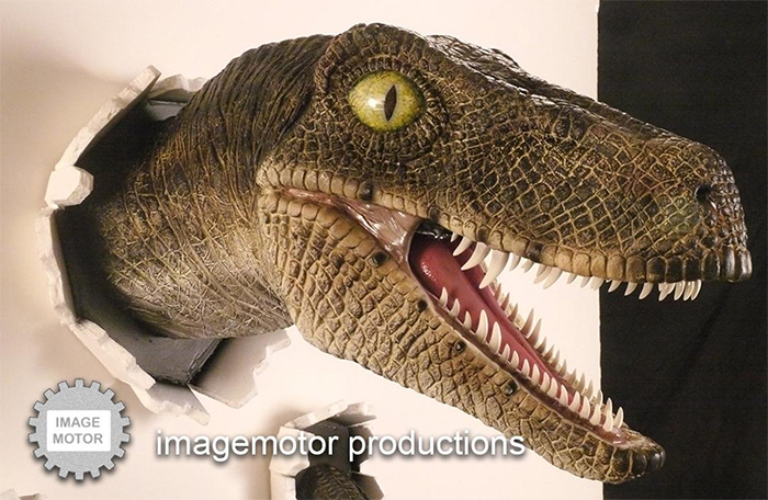 highly detailed velociraptor head