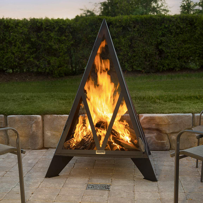 iron embers outdoor pyramid bonfire pit