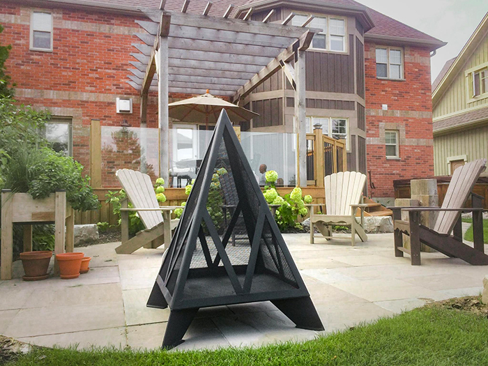 iron embers stainless steel triangular outdoor fireplace