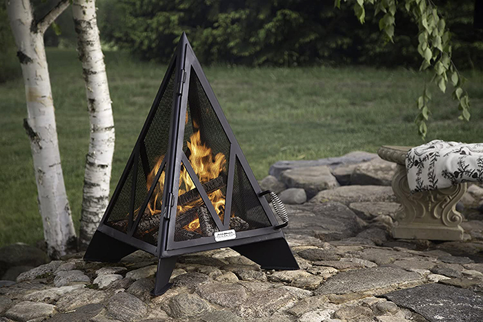 iron embers triangle-shaped outdoor fireplace