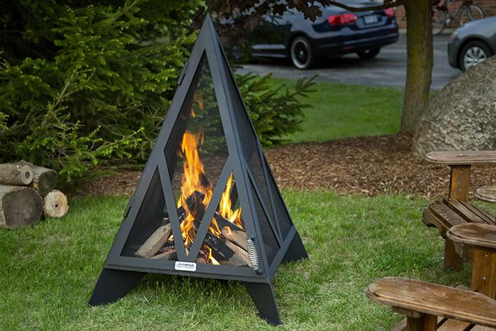 iron embers triangular outdoor fireplace for backyard