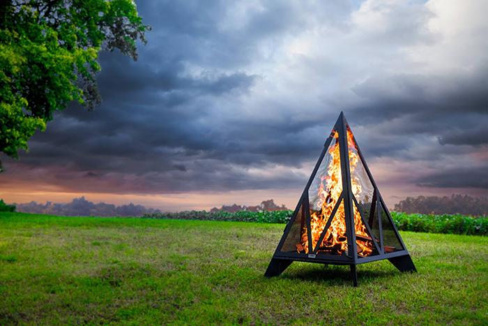 iron embers triangular outdoor fireplace
