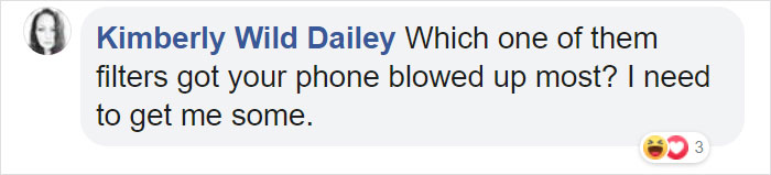 kimberly wild dailey facebook comment on photos of guy with actual filters