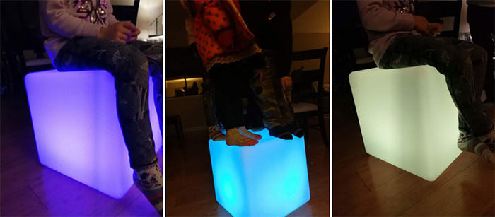 led cube chair color-changing