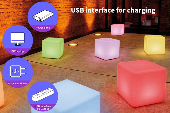led cube chair rechargeable