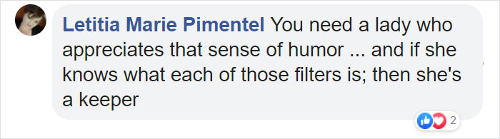 letitia marie pimentel facebook comment on photos of guy with actual filters