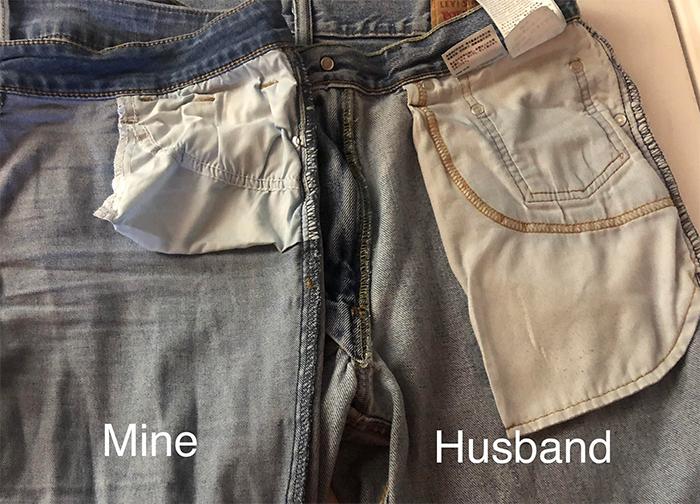 man vs woman pant pocket size