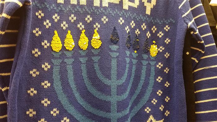 menorah sweater flame sequins