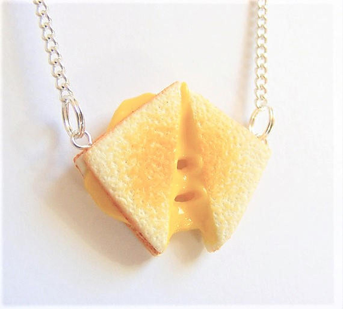 mini grilled cheese necklace realistic pendant