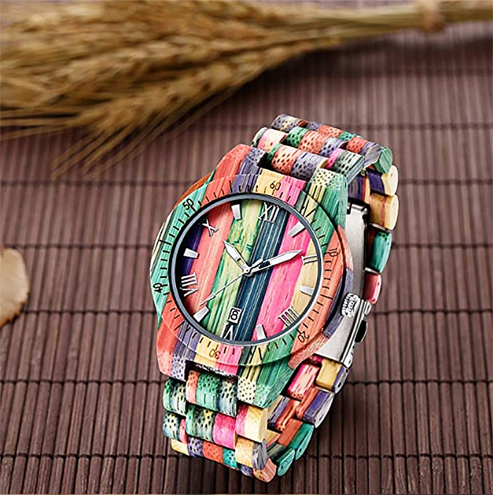 multi-colored wood wristwatch for men
