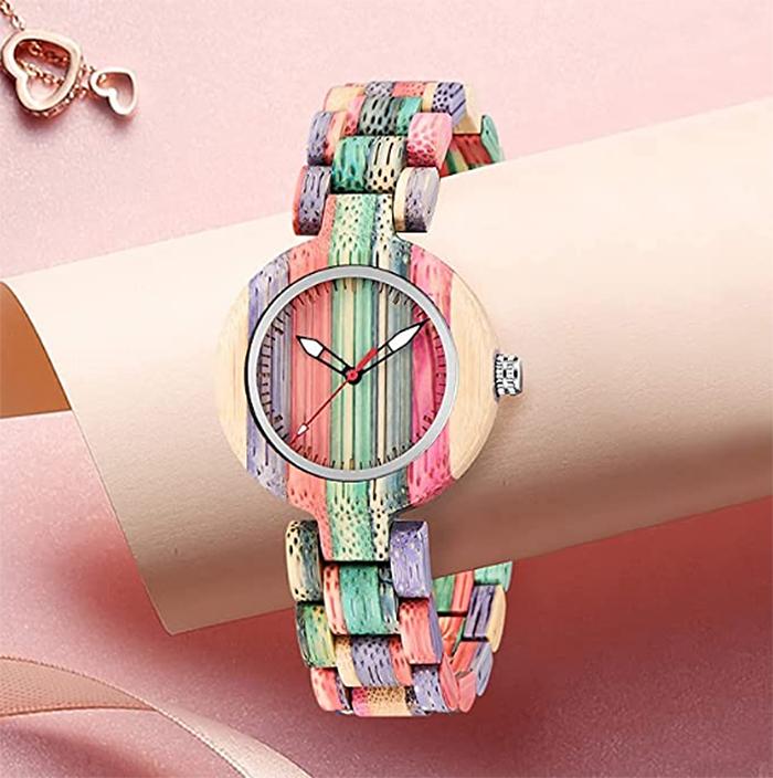 multi-colored wood wristwatch women