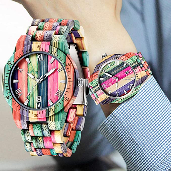 multi-colored wood wristwatch