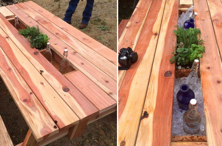 picnic table Drink Cooler Troughs