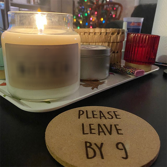 please leave by 9 cork coasters circle