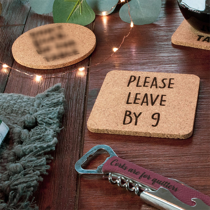 please leave by 9 cork coasters square
