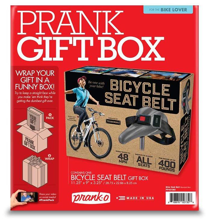 prank-o bicycle seat belt prank gift box