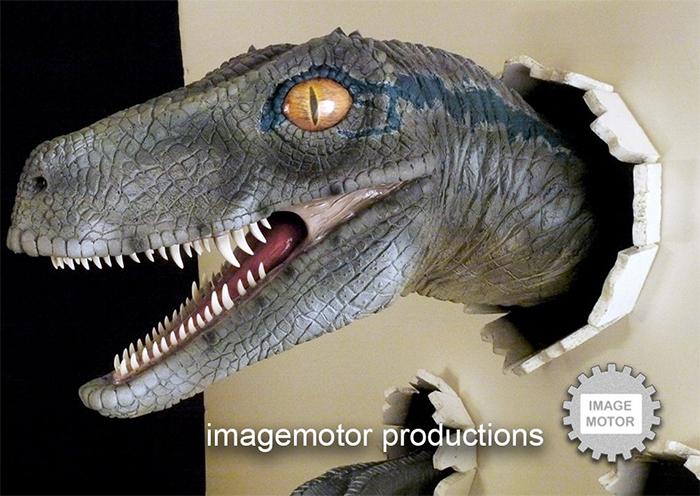 realistic velociraptor blue version
