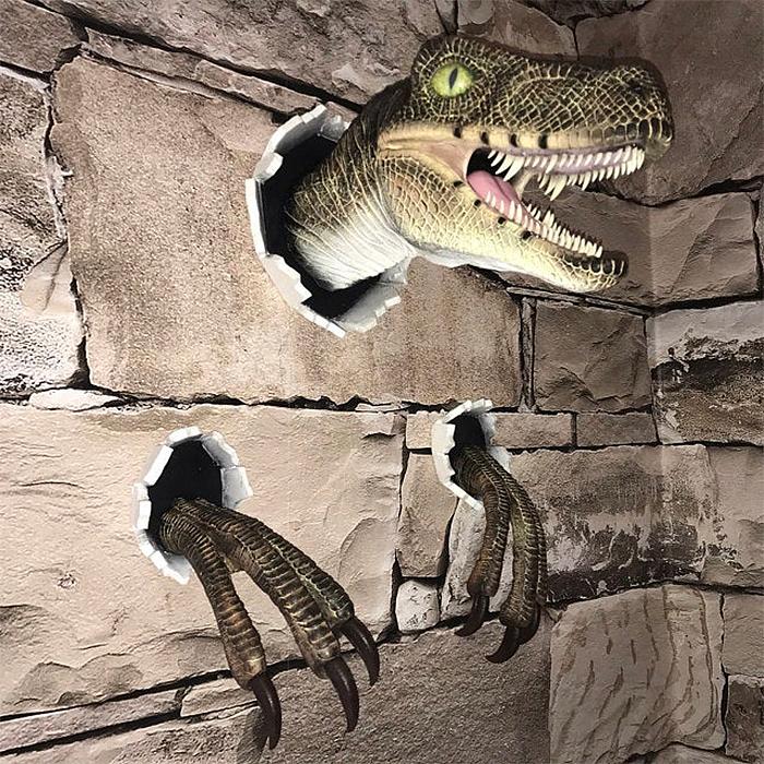 realistic velociraptor decor