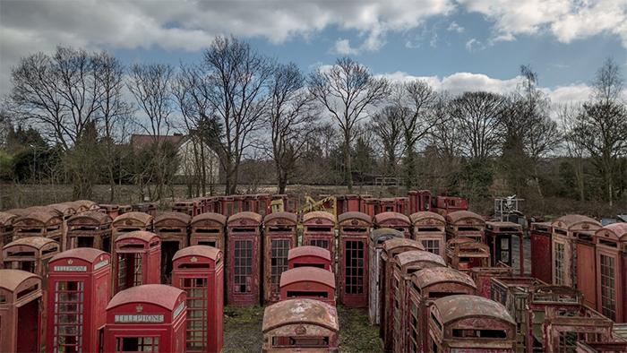 red phone box graveyard