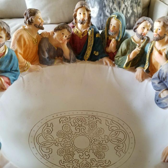 serving bowl jesus apostles sculpture