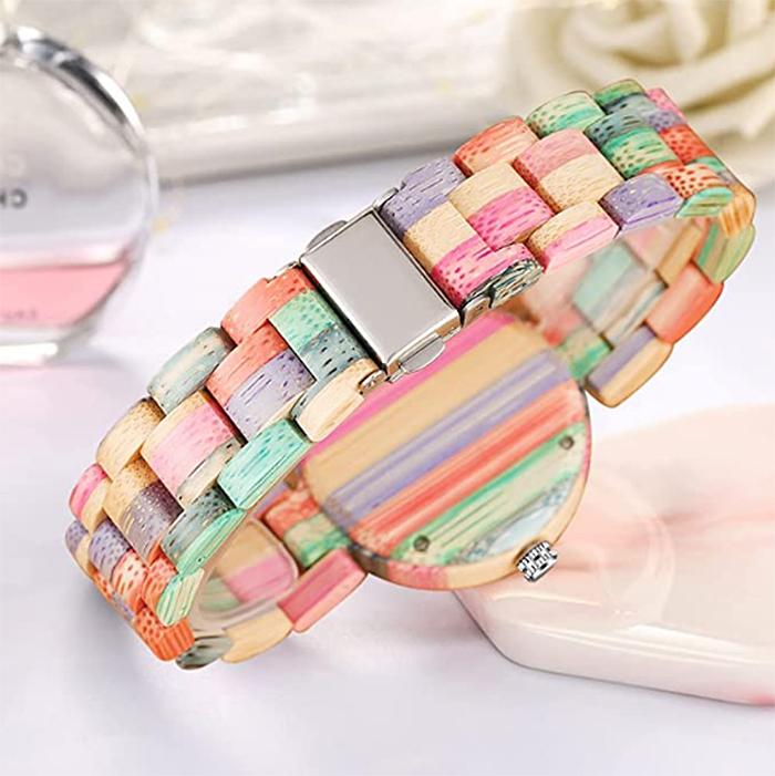 stylish colorful wooden watch women