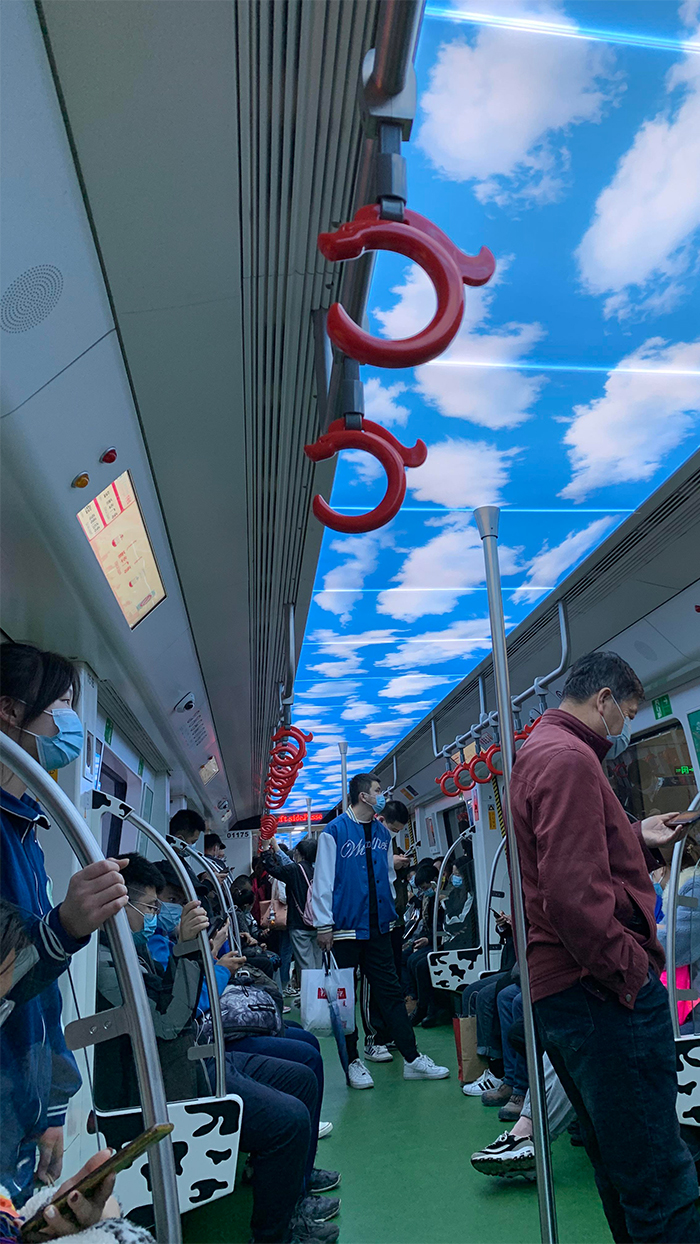 subway train sky clouds ceiling