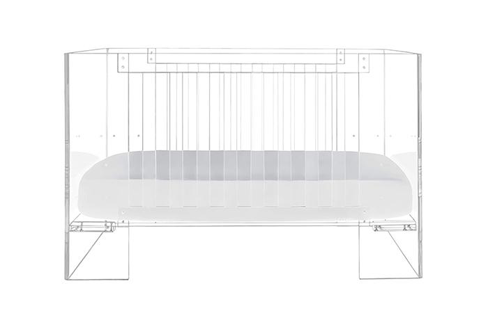 transparent acrylic baby crib adjustable mattress height