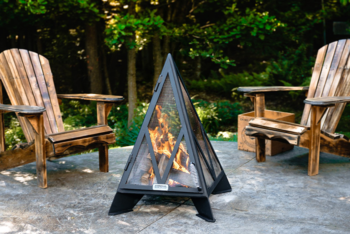 triangular outdoor fireplace