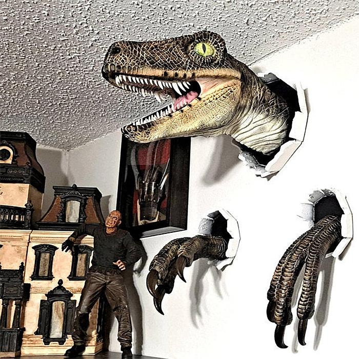 wall bursting dinosaur decor
