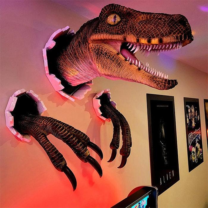 wall bursting dinosaur prop replica