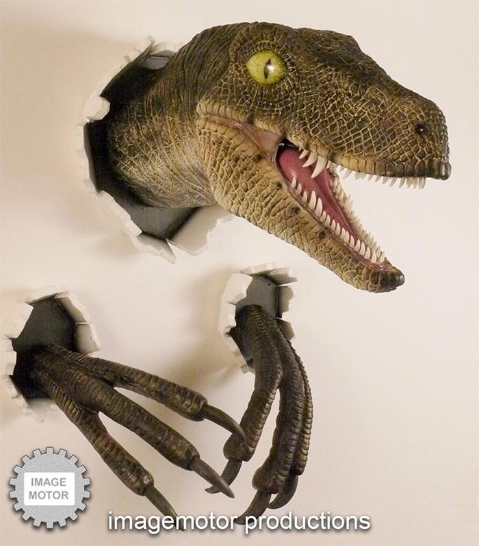 wall bursting dinosaur