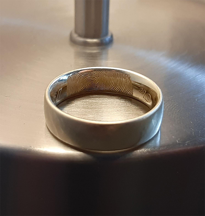 wedding ring with fingerprint