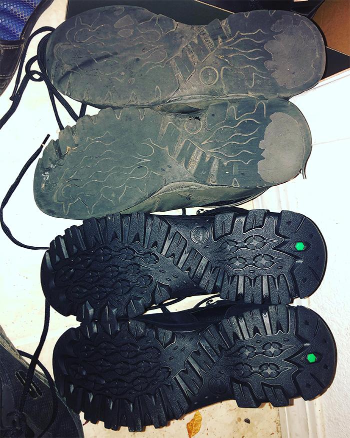 worn down mailman shoes
