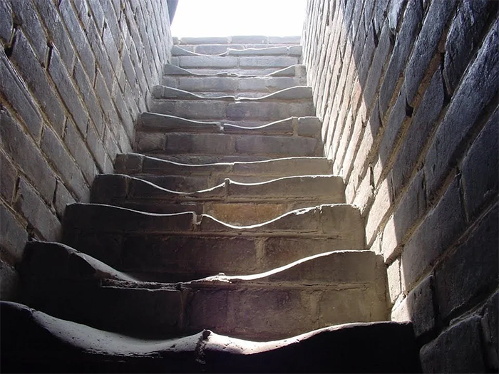 worn down over time great wall of china stairs