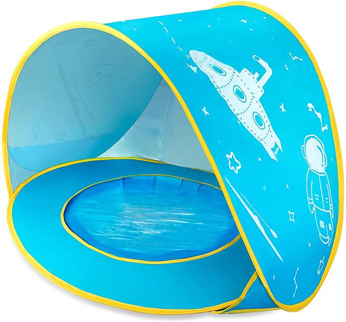 baby pool beach tent blue