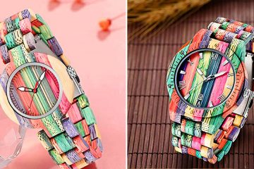 colorful wooden watches