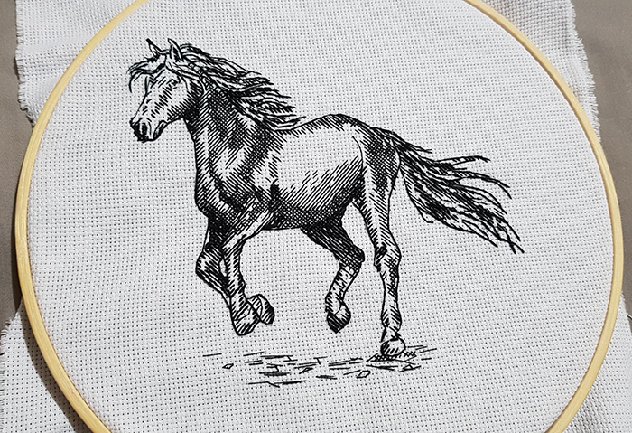 counted-thread embroidery art blackwork horse