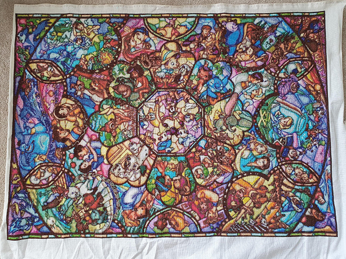 counted-thread embroidery art disney characters stained glass