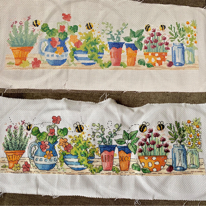 counted-thread embroidery art plants and bees before and after backstitching