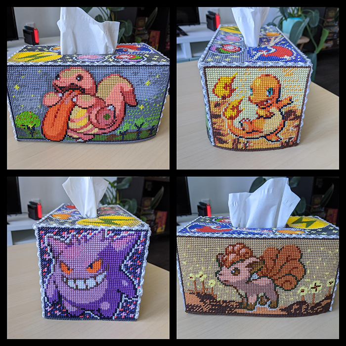 counted-thread embroidery art pokemon-themed tissue box