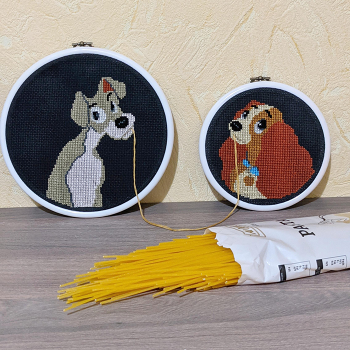 counted-thread embroidery art social distancing romance