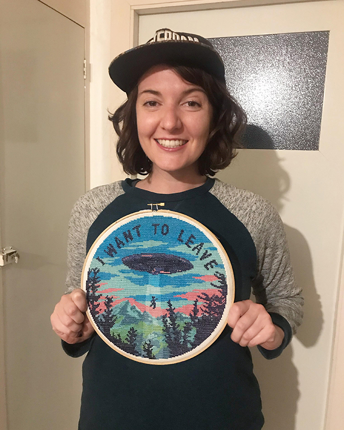 counted-thread embroidery art x-files i want to leave