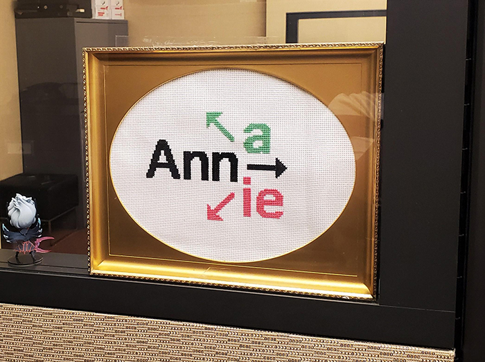 cross-stitch art ann anna annie office direction sign