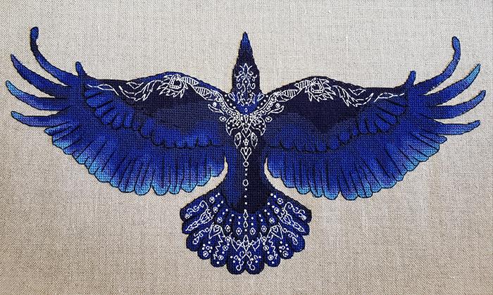 cross-stitch art blue raven