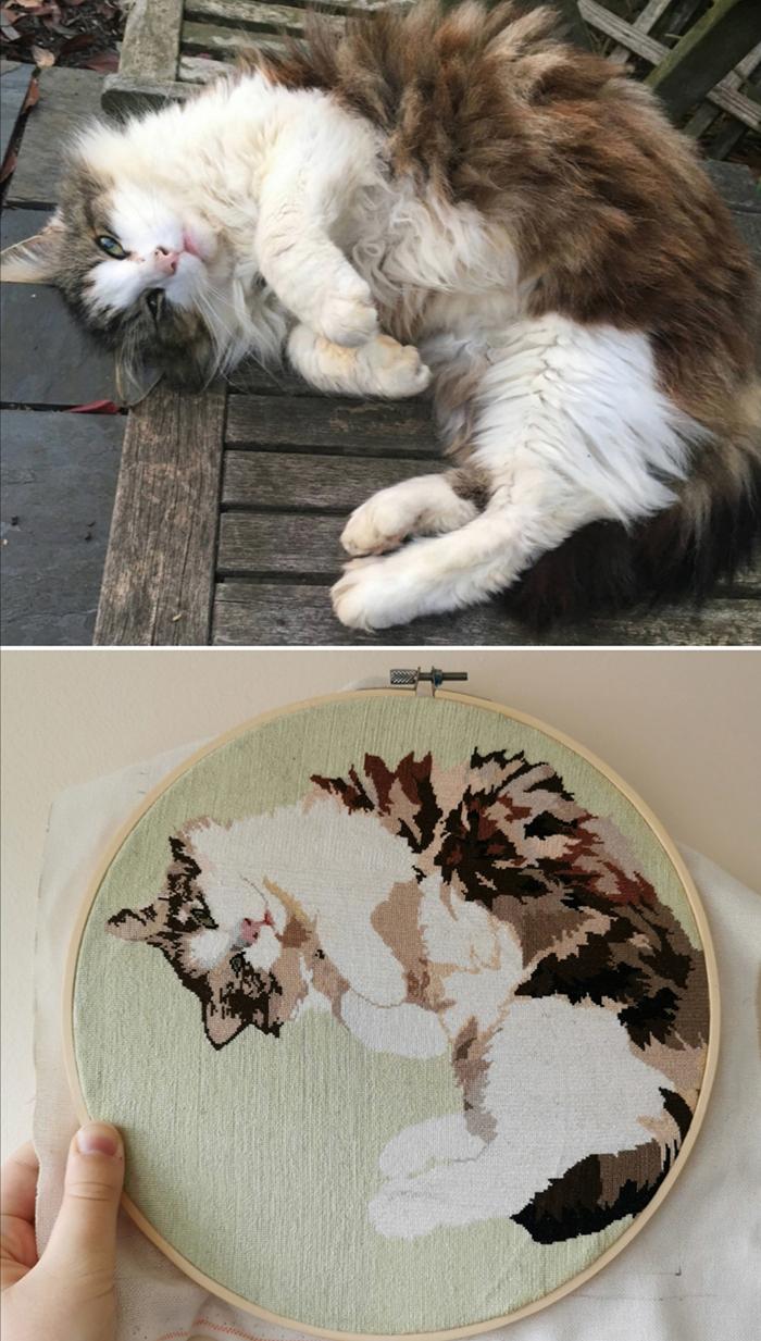 cross-stitch art curled up cat