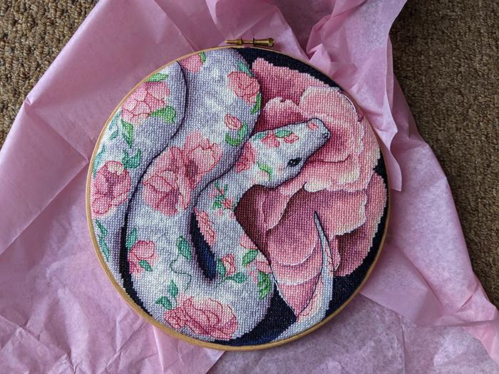 cross-stitch art eden serpent