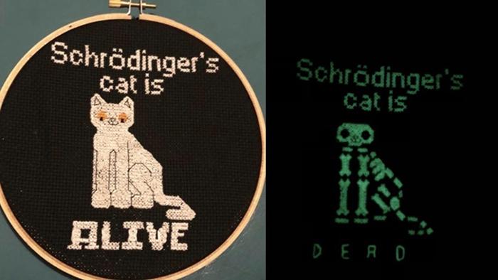 cross-stitch art glow in the dark schrodinger's cat