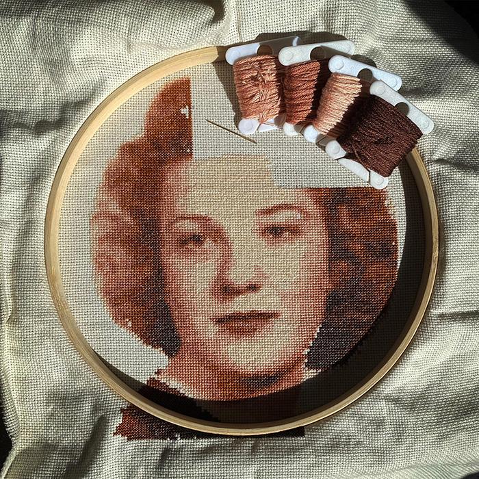 cross-stitch art grandmother senior portrait