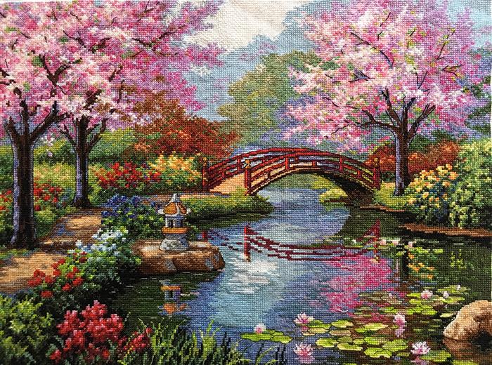 cross-stitch art japanese garden