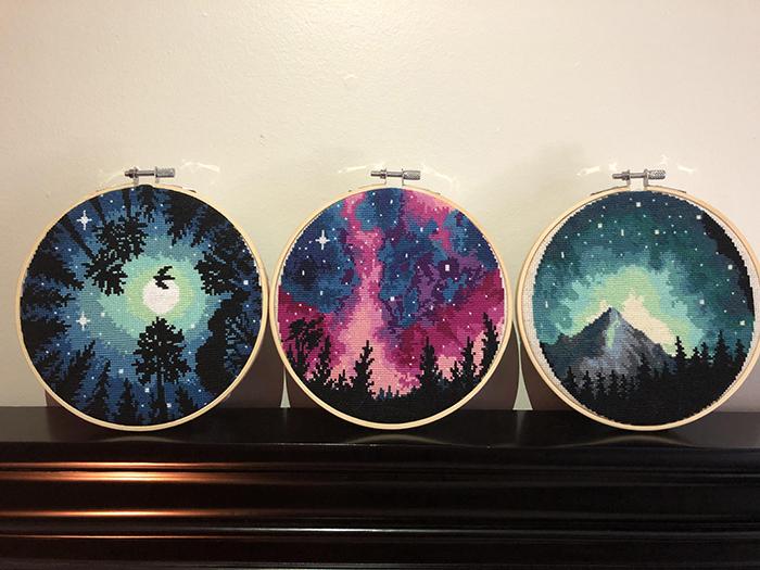 cross-stitch art northern lights
